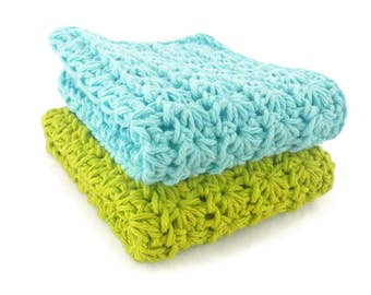 Cotton Crochet Bathroom or Kitchen Washcloths or Dishcloths - Set of 2 - Light Blue and Lime Green - Eco Friendly and Natural Wash Cloth