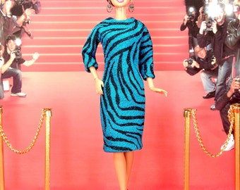 Barbie Doll Dress - Teal and Blue Zebra Print Doll Dress with Earrings and Shoes