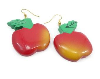Vintage Apple Dangle Earrings, Hand Painted, Balsa Wood, Hooks