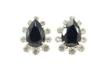 Vintage Black Rhinestone Earrings, Faceted Glass, Tear Drops, Clear Rhinestones, Silver Tone, Clip Ons