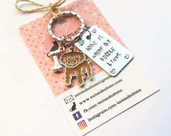 Poodle owner gift, Poodle gift, Hand Stamped Key Ring, Dog Owner, pet Owner, Pet Lover, UK seller,