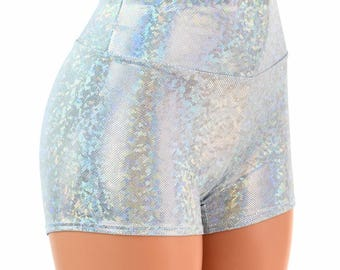 High Waist Frostbite Shattered Glass Holographic Metallic Spandex Shorts Festival Rave Clubwear 154471
