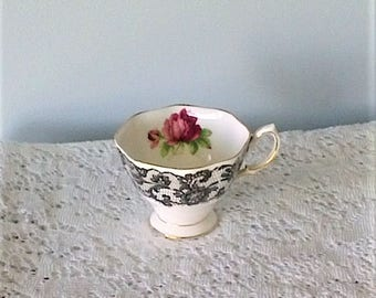 Royal Albert Señorita Black Lace & Red Rose Bone China Footed Tea Cup - Made in England