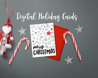 Digital Christmas Card, Merry Christmas Stars in Black, white and Red sized 5x7 inches for easy printing, Instant Download