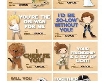 STAR WARS Valentines - Cute Star Wars Valentines - Cute Yoda - Cute Princess Leia - Cute Darth Vadar - Teacher Card - Personalized - Digital