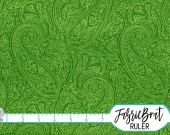 KELLY GREEN PAISLEY Fabric by the Yard Fat Quarter Paisley Fabric Leaf Green Fabric Quilting Fabric Apparel Fabric 100% Cotton Fabric w7-6