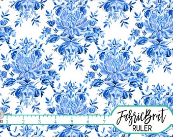 PORCELAIN BLUE FLORAL Fabric by the Yard Fat Quarter Blue & White Large Flower 100% Cotton Fabric Quilt Fabric Apparel Fabric Yardage a4-15