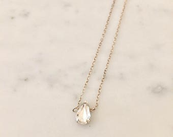 Sterling Silver Swarovski Teardrop Crystal Necklace