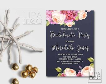 Printable Bachelorette Invitation, Floral Bachelorette Party Invitation Printable, Navy Bachelorette Invite, Hens Night Invitation