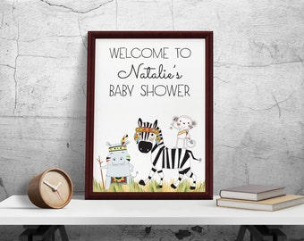 Welcome Sign Baby shower, Jungle Baby Shower Decor, Birthday Welcome Sign Printable, Birthday Party Decoration, Safari Baby Shower Decor