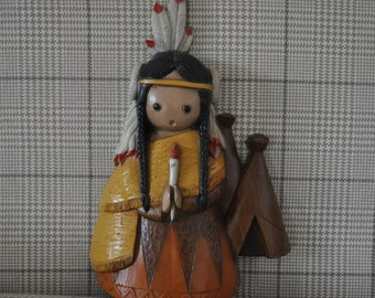 Kitschy Indian Squaw Plastic Wall Hanging. Burwood Products. Ready to Hang. Western Kitsch.