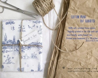 Blue Toile Print, Medieval Houses and Birds Fabric | Soft cotton quilt fabric, blue and cream digital print toile from original drawings.