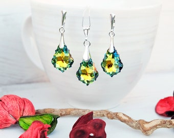 Sterling Silver Swarovski Earrings Necklace Set-Wedding Bridesmaids Swarovski Baroque Crystal Jewellery-Green Multi Tone Sahara Earrings-