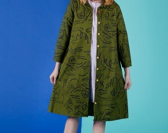 ZMF X John Brumley - Unisex Printed Cotton Linen Artist Duster Coat - Olive Green