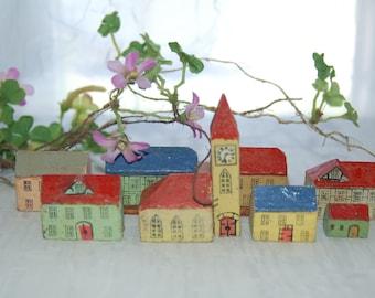 Antique Erzgebirge Miniature Village - Unmarked Erzgebirge - Charming Wooden 8 Pc Village  - Christmas Village