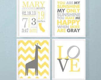 birth announcement wall art giraffe, gender neutral birth wall art, new baby gift, personalized baby gift set, baby announcement wall art