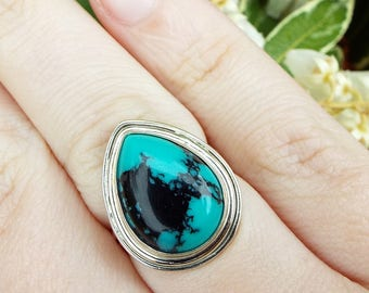 Vintage / Sterling Silver Statement Faux Matrix Turquoise Ring / Size M 1/2 925