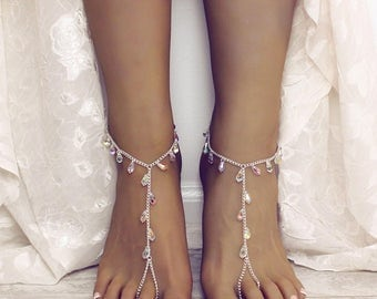 Thalia Barefoot Sandals Swarovski Wedding Sandals Beach wedding shoes Anklet Foot Jewelry Slave Anklet Foot Thong Swarovski Anklet Silver