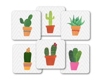 Cactus Coasters - Modern Botanical Coaster Set - Cactus Plant Drink Coasters - Botanical Home Decor - Housewarming or Plant Lover Gift