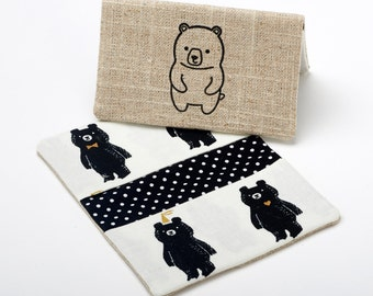 Bear Wallet, Slim Card Holder, Handmade Wallet Case - Black and White Bear - Gifts Under 20