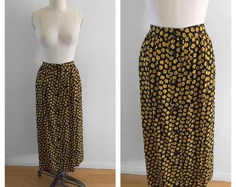 Vintage Ungaro Ter 100% Silk Floral Black And Yellow Button Down Long Maxi Floor Length Skirt Size Large