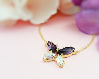 Crystal Butterfly Necklace, Amethyst Necklace, Purple Crystals, February Birthstone Gift, Purple Butterfly Wedding, N3100