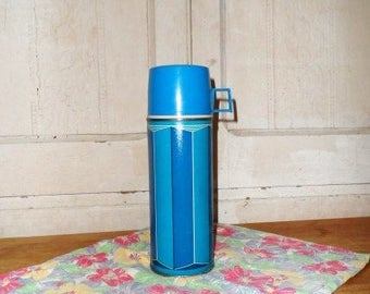 King Seeley Thermos Co.- Retro Classic Blue Graphic #2210- Picnics-Coffee-Glass Lined-Vintage Beverage Container-Orphaned Treasure-042617H