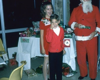 Vintage Kodachrome Photo Slide..Handing Out Gifts with Santa Claus, 1960's Original Found Photo, Vernacular Photography