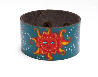 Painted Sun Blue Leather Cuff Bracelet Celestial Hippie Boho Jewelry FREE SHIPPING