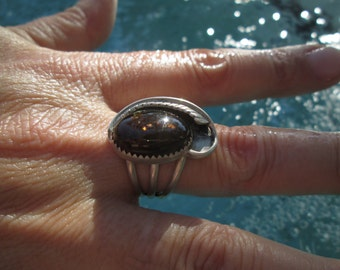 Fire Agate and Sterling Silver Feather Ring Size 8.25