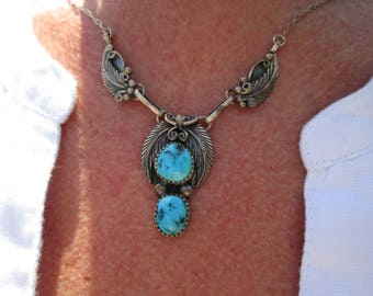 Navajo Helen Long Turquoise and Sterling Feathers Necklace