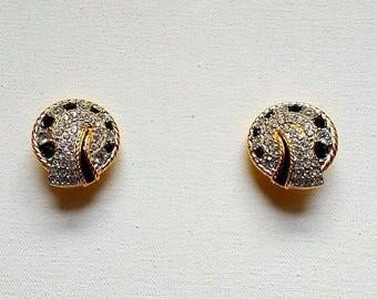 Swarovski Earrings - Signed Swarovski Clip On -  Swarovski Swan Brand - Vintage Crystal 1980s