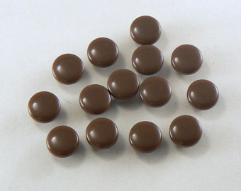 """12 - 3/8"""" Plastic Brown Shank Buttons - 9 mm Brown Sewing Buttons - Small Shank Buttons #BN-04-02"""