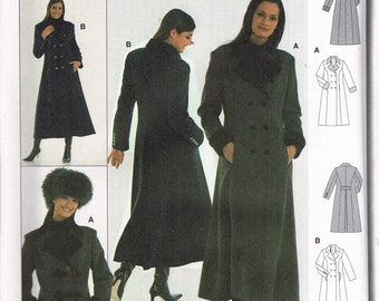 Size 8-20 Misses' Coat Sewing Pattern - Long Princess Seam Coat Sewing Pattern - Women's Double Breast Coat Sewing Pattern -  Burda 8595