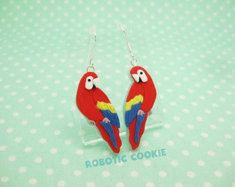 Parrot earrings Macaw polymer clay Sterling Silver