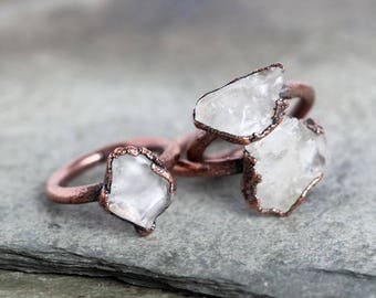 Crystal Ring Electroformed Copper Ring Stone Ring Natural Stone Stacking Ring White Quartz Ring Copper Ring