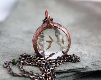 Dandelion Necklace Electroformed Copper Glass Pendant Terrarium Necklace Copper Chain Rustic Natural Jewelry Wish Jewelry