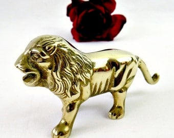 Vintage Brass Lion Figurine - Mid Century Desk Decor Animal Collectible