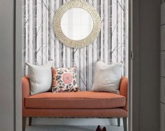removable wallpaper birch tree peel u0026 stick fabric wallpaper