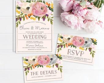 Wedding Invitation Set - Wedding Invite - RSVP Card - Wedding Details Card - Sweet Blooms - Wedding Invitation - Printable Wedding Set