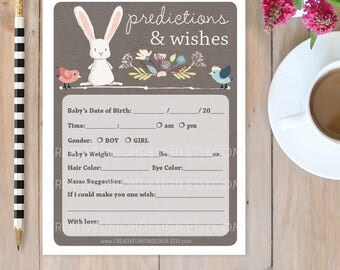 Baby Predictions And Wishes   Rabbit Baby Shower Game   Baby Predictions  Game   Office Shower