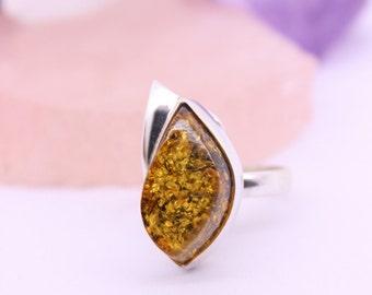 Baltic Amber Ring, Statement ring, Bohemian jewelry, Womens ring, Natural gemstone jewelry, Genuine gemstone ring, Amber jewelry, Gift ideas
