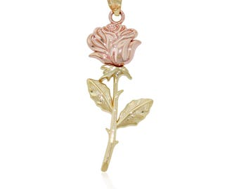Gold Long Stem Rose Charm, 14k Solid Gold Pendant, Yellow and Rose Gold
