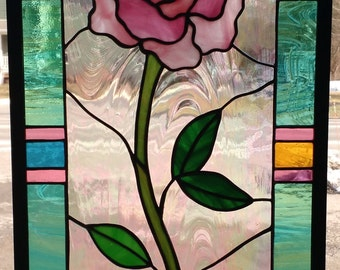 Rose in Bell Jar - Hand Crafted Stained Glass Tiffany Technique Panel
