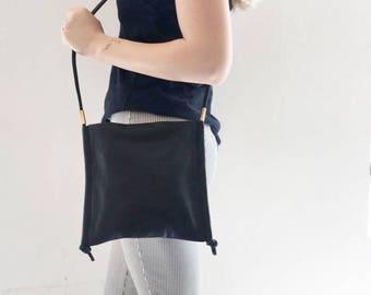 Soft Leather Bag / Medium Purse / Women's Bag / Black Clutch / Every Day Bag / Pouch / Crossbody Bag / Shoulder Bag / Handbag - Frdi