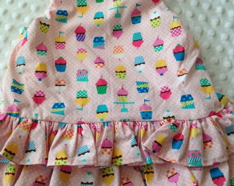 Two Piece Dress and Diaper Cover  Red and Pink Floral or Cupcake 9 months