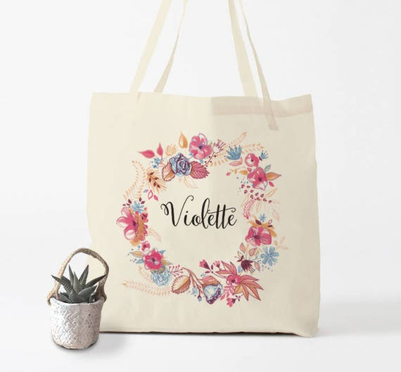 Custom Tote Bag, name of your choice, birth gift, canvas bag name, custom tote bag, name on a bag, purse, groceries bag, gift women.