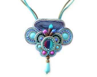 Blue soutache necklace - Statement necklace - Bohemian jewelry - Boho chic - Chunky necklace