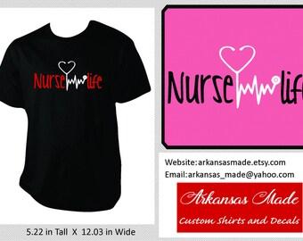 Nurse life custom nurse shirt, nurse practitioner, trauma nurse, RN shirt, LPN, Nurse shirt, nurse gift, stethoscope EKG, heartbeat, to 4x