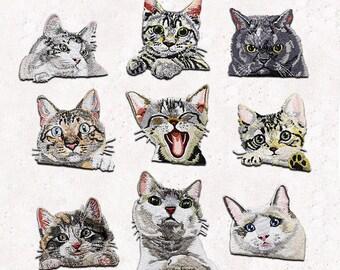 set of 9 cat kitty kitten baby grey yellow orange black white iron on embroidery patches